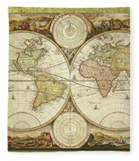 Old World Map On Gold Fleece Blanket