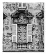 Old Yellow Building With Lace Curtain In Nice, France, Black And Fleece Blanket
