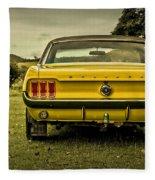 Old Yellow Mustang Rear View In Field Fleece Blanket
