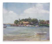 O' Leary's Tiki Bar And Grill On Sarasota Bayfront Fleece Blanket