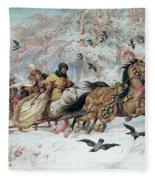 Olenka And Kmicic In A Sleigh, 1885 Fleece Blanket
