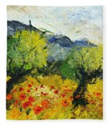 Olive Trees And Poppies  Fleece Blanket