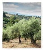 Olive Trees Hill Fleece Blanket