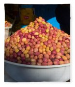 Olives For Sale In Market, Essaouira Fleece Blanket
