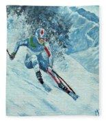 Olympic Downhill Skier Fleece Blanket