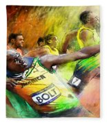 Olympics 100 M Gold Medal Usain Bolt Fleece Blanket