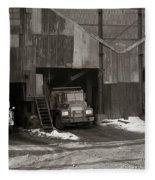 Olyphant Pa Coal Breaker Loading Trucks And Gondola Car Winter 1971 Fleece Blanket