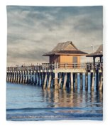 On A Cloudy Day At Naples Pier Fleece Blanket