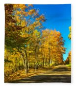 On A Country Road 4 - Paint Fleece Blanket