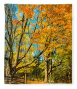 On A Country Road 5 - Paint Fleece Blanket