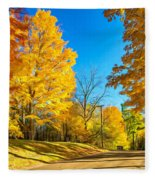 On A Country Road 6 - Paint Fleece Blanket