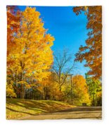 On A Country Road 6 Fleece Blanket
