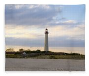 On The Beach At Cape May Lighthouse Fleece Blanket