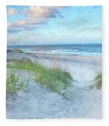 On The Beach Watercolor Fleece Blanket