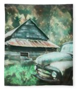 On The Edge Of The Green Mountains Painting Fleece Blanket