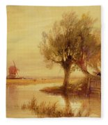 On The Norfolk Broads Fleece Blanket