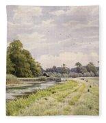 On The River Ouse Hemingford Grey Fleece Blanket
