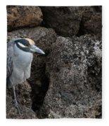 On The Rocks - Yellow-crowned Night Heron Fleece Blanket