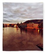 On The Vltava River Fleece Blanket