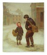 On The Way To School In The Snow Fleece Blanket