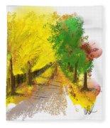 On The Yellow Road Fleece Blanket