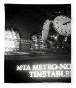 On Time At Grand Central Station Fleece Blanket
