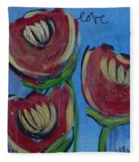 Once Upon A Yoga Mat Poppies 2 Fleece Blanket