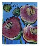 Once Upon A Yoga Mat Poppies 3 Fleece Blanket
