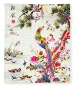 One Hundred Birds With A Phoenix, Canton, Republic Period Fleece Blanket