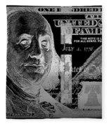 One Hundred Us Dollar Bill - $100 Usd In Silver On Black Fleece Blanket