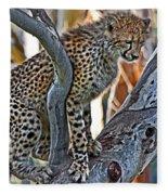One Little Cheetah Sitting In A Tree Fleece Blanket