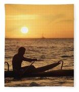 One Man Canoe Fleece Blanket