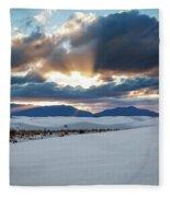 One More Moment - Sunburst Over White Sands New Mexico Fleece Blanket