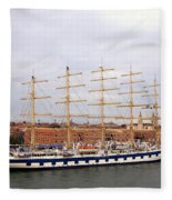 One Of Star Clipper's Masted Cruise Liners Docked In Venice Italy Fleece Blanket