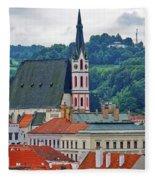 One Of The Churches In Cesky Kumlov In The Czech Republic Fleece Blanket