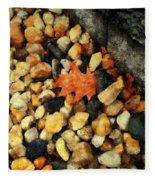 One Orange Leaf Fleece Blanket