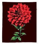 One Red Dahlia Fleece Blanket