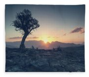One Tree And Sunset Fleece Blanket