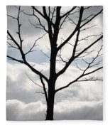 One Winter Tree With Clouds Fleece Blanket