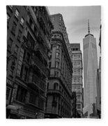 One World Trade Center New York Ny From Nassau Street Black And White Fleece Blanket