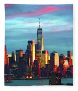 One World Trade Sunset Spectacle Fleece Blanket