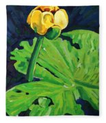 One Yellow Lily Fleece Blanket