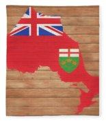 Ontario Rustic Map On Wood Fleece Blanket