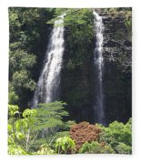 Opaekaa Falls On Kauai Before A Storm Fleece Blanket