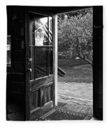 Open Door B-w Fleece Blanket