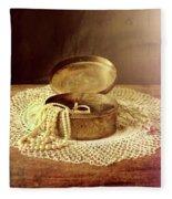 Open Jewelry Box With Pearls Fleece Blanket