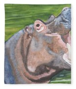 Open Mouthed Hippo On Wood Fleece Blanket