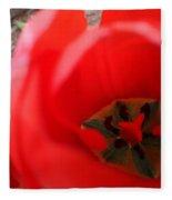 Open Red Tulip Fleece Blanket
