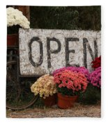 Open Sign With Flowers Fine Art Photo Fleece Blanket