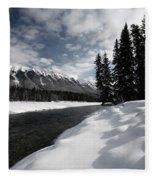 Open Water In Winter Fleece Blanket